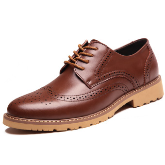 Brogue Stylish varved thick bottomed oxford shoes men shoes (Shallow brown) (Shallow brown)