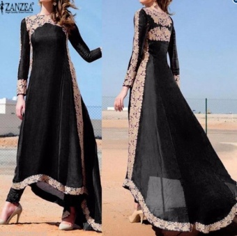 BYL fashion style women summer boho dress long sleeve gablue  Black