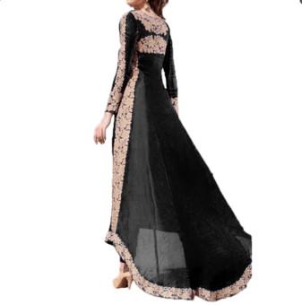 BYL fashion women summer boho dress long sleeve gablue  Black