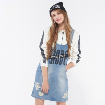 Harga Cache cache Shishang lettered strap cowboy dress