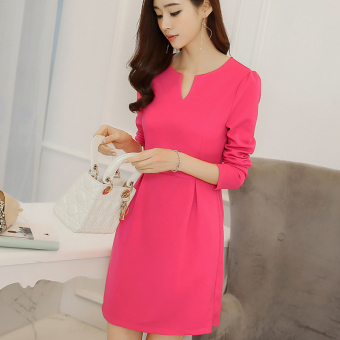 Caidaifei Korean-style female Plus-sized knit long-sleeved base skirt sheath dress
