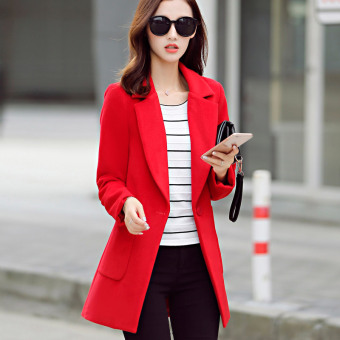 Caidaifei Korean-style Slim fit Plus-sized mid-length woolen coat