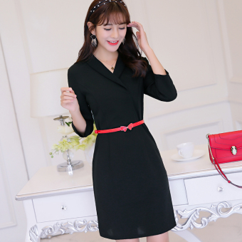 Caidaifei Korean-style Slim fit three-quarter-length sleeve slimming Shishang knit dress (Black)