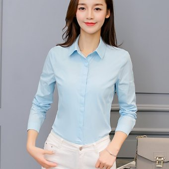 Caidaifei Korean-style spring and summer New style female versatile bottoming shirt (Light blue) (Light blue)