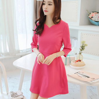 Caidaifei Korean-style Women's Plus-sized Slim fit three-quarter-length sleeve base skirt knit dress