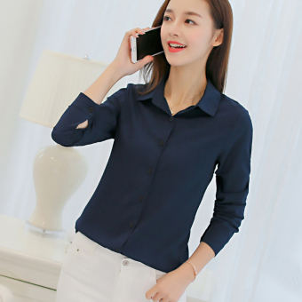 CALAN DIANA Women's Slim Fit Chiffon Long Sleeve Shirt Color Varies (Navy blue)