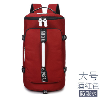 Canvas large capacity shoulder travel backpack (Anti-splash water wine red large)