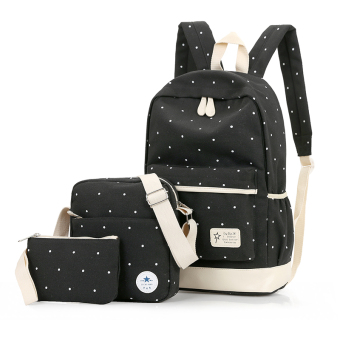 Harga Canvas shoulder bag female korean institute of wind print backpackmiddle school students schoolbag high school students travel threepiece set (Black)
