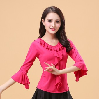 Capri Bell sleeve costumes dance clothing dance Top (Rose color)