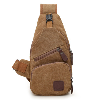 Casual canvas cross-body I Shinebager chest pack (Brown)
