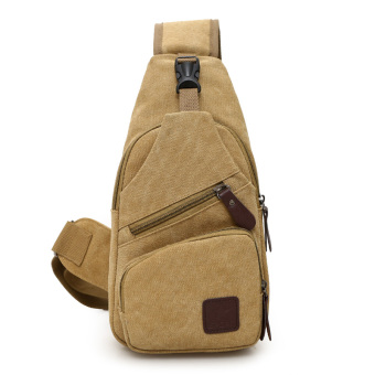 Casual canvas cross-body I Shinebager chest pack (Khaki)