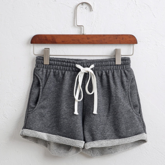 Casual female Loose and plus-sized home shorts cotton sports shorts (Dark gray color) (Dark gray color)