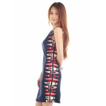Casual Liz' Sheath Dress with Printed Side Panel in blue - 2
