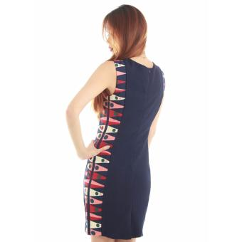 Casual Liz' Sheath Dress with Printed Side Panel in blue - 3