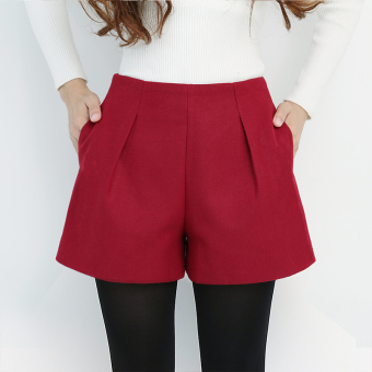 Casual woolen female slimming boot pants shorts (Wine red color)
