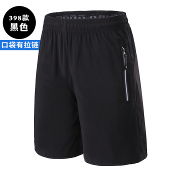Casual woven men running fitness pants sports shorts (398 black)