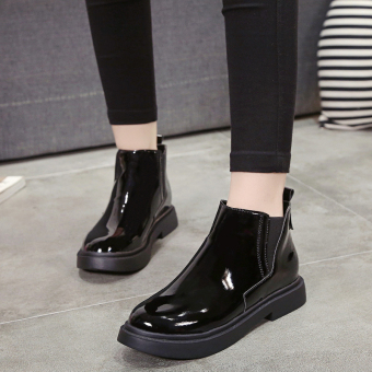 Chelsea British style female flat single boots Martin boots (Patent leather black)