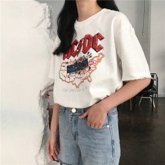 Chic BF female Hong Kong flavor Print loose student short-sleeved t-shirt (White)