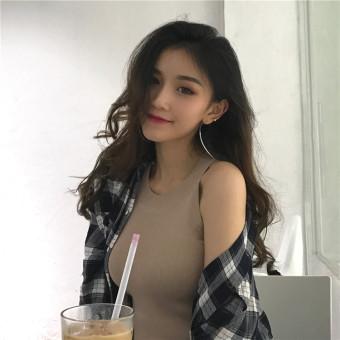 Chic Han Feng women off-the-shoulder straps Slim fit sexy bottoming shirt (Khaki) (Khaki)