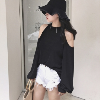 Chic Korean-style black style slimming T-shirt