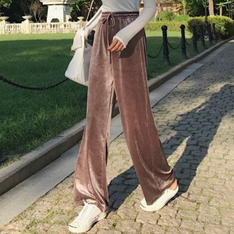 Chic Korean-style female autumn elastic high-waisted casual pants wide leg pants (Champagne color)