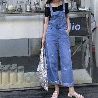Chic Korean-style New style loose Slimming effect denim overalls