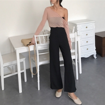Chic Korean-style style high-waisted elegant wide leg pants Bell-Bottom pants (Black)