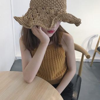 Chic retro knit New style halter vest Korean-style strap (Khaki) (Khaki)