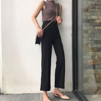 Chic retro Slim fit slimming high-waisted casual pants black wide leg pants