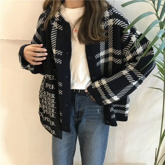 Chic retro style plaid sweater long-sleeved sweater cardigan (Dark blue color)