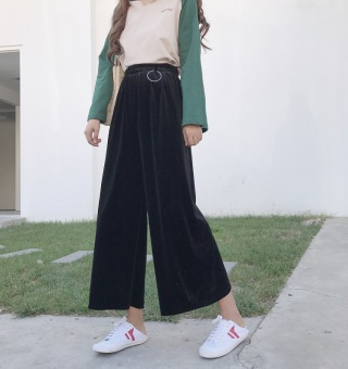 Chic retro velvet solid color New style versatile pants high-waisted wide leg pants (Black)