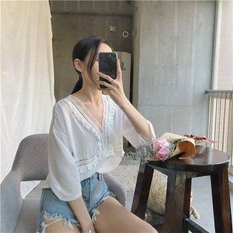 Chic soft female v-neck hollow style summer short-sleeved chiffon shirt