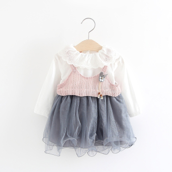 Children female baby girls baby princess dress Dress (Pink flower dress) (Pink flower dress)