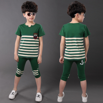 Children's clothing boys summer suit Striped short-sleeved t-shirt two-piece sets large children Korean-style summer casual sports suit (Green)