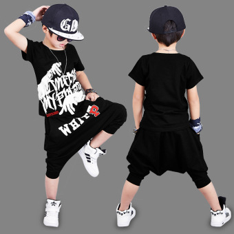 Children'S Clothing Sixty-One Performance Clothing 2017 Summer Boys Short-Sleeved Suit P Word Hip-Hop Casual Two-Piece (Black)