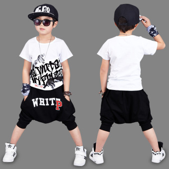 Children'S Clothing Sixty-One Performance Clothing 2017 Summer Boys Short-Sleeved Suit P Word Hip-Hop Casual Two-Piece (White)