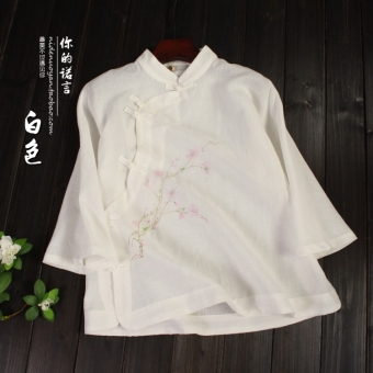 Chinese-style retro female spring Zen tea chinese shirt Top (White ? even shoulder sleeve peach retro shirt)