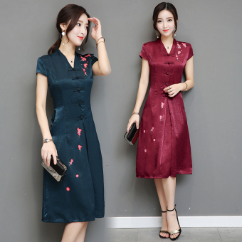 Chinese Style vintage summer day-to-day V-neck dress (Dark green color) (Dark green color)