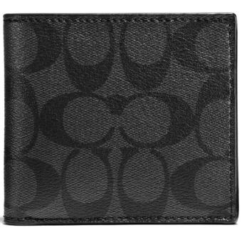Coach Coin Case In Signature Men Wallet Charcoal / Black # F75006
