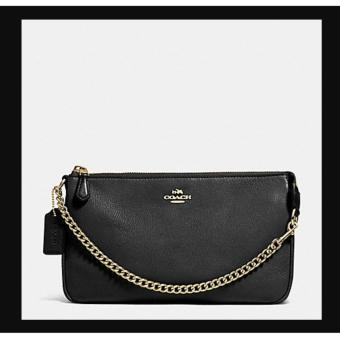 Coach F53340 Large Chain Pouch Wristlet in Pebble Leather (Black)