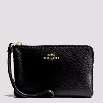 Coach F58032 Corner Zip Crossgrain Leather Wristlet (Black)