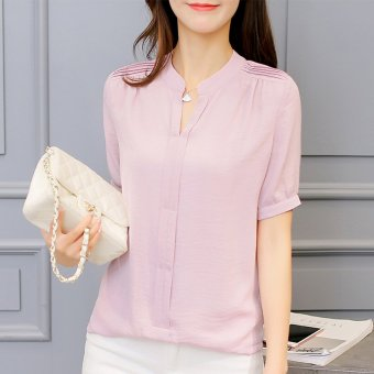 Color Diana New style Slim fit Korean-style solid color short-sleeved shirt