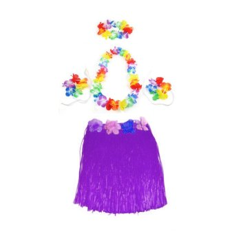 Color Hawaiian Tropical Hula Luau Grass Dancer Skirt & Flower Headband Bracelet and Necklace Set - intl