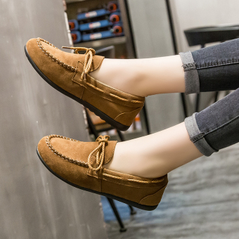 Comfortable female flat foot covering women's shoes moccosins (Camel)