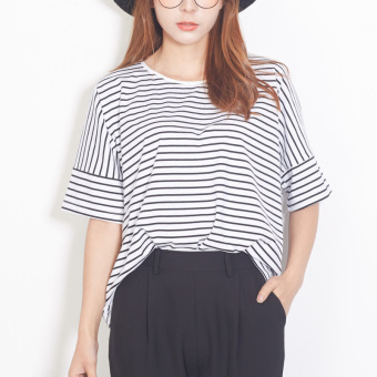 Cotton loose striped round neck Navy style short-sleeved t-shirt(Blue)