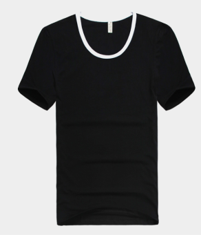 Cotton solid color men's T-shirt base shirt (Black)