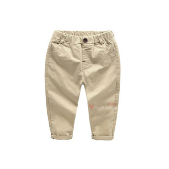 Cotton Spring and Autumn New style children's casual pants children's pants (Deep khaki Spring and Autumn cotton button pants)