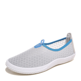 Couple's casual mesh female breathable shoes mesh shoes (Women's + Gray)