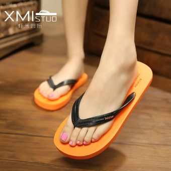Couple's flat non-slip beach sandals and slippers (Orange)