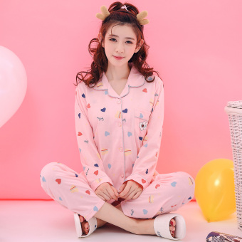 Cute cotton women thin section tracksuit pajamas (W099)